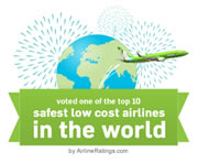 voted one of the top 10 safest low cost airline in the word
